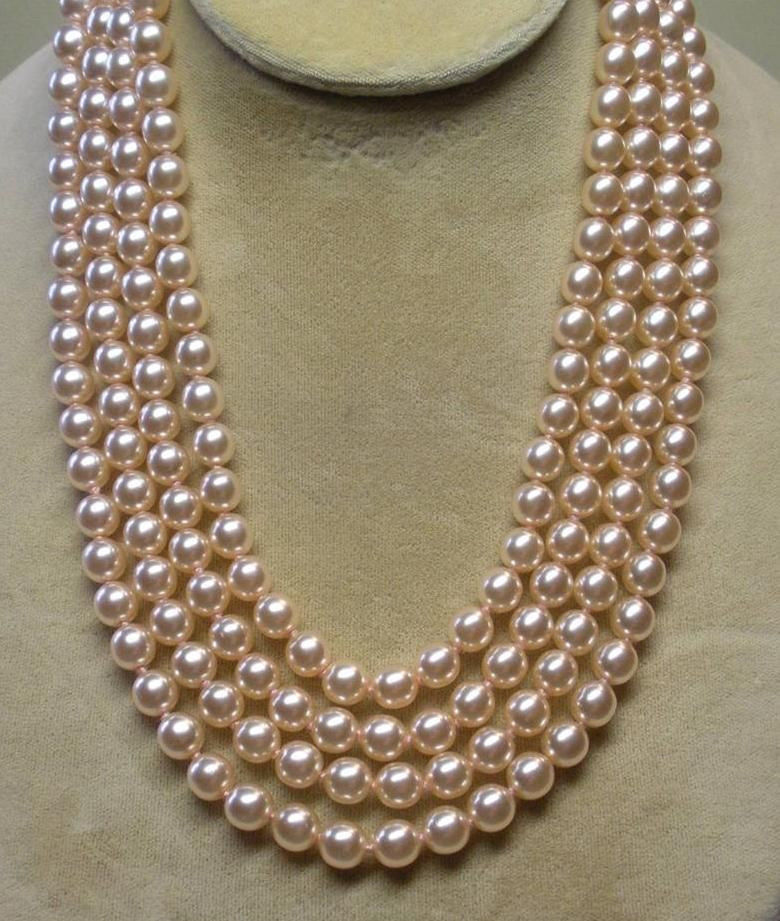 Miss charme Jew.673 50 pouces 9-10mm naturel du sud mer or rose perle collier AAA