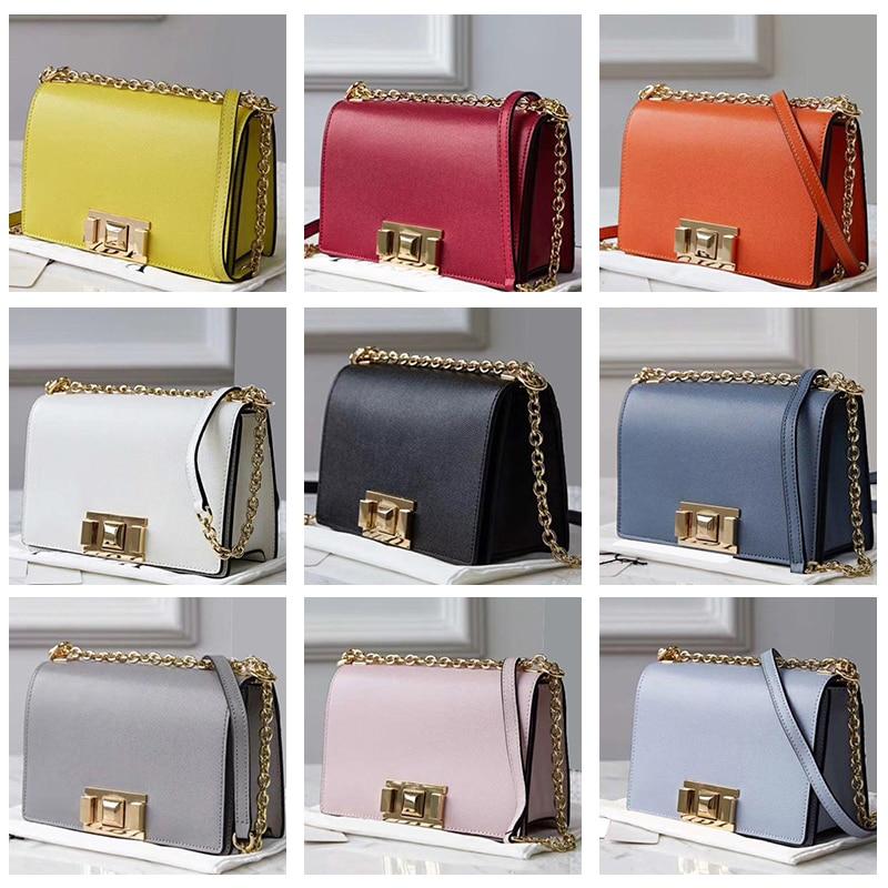 luxury brand classic genuine leather small square flap bag joker clasp large capacity Shoulder Crossbod slant