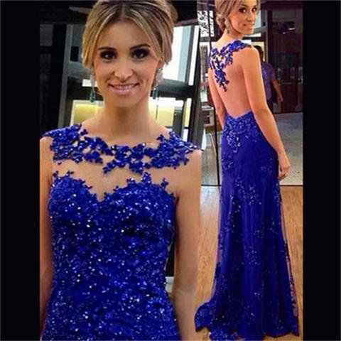Elegant Royal Blue A Line Prom Dress Sexy Illusion Lace Appliques Beaded Floor Length Evening Dresses Plus Size Long Party Gowns
