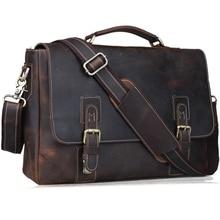 "Handarbeit Crazy Horse Echtes Leder Aktentaschen 14 ""Laptop Tasche Umhängetasche Mode Vintage Handtasche Dunkelbraun 8069"