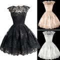 2017 New Fashion Women Clothing Elegant ShortSleeve Black/White Lace Dress Vestidos Formal Wedding Mini Tutu Party Dresses Q2253