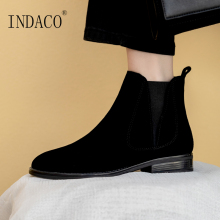 Women Flat Leather Ankle Boots for Black Booties Winter 3cm