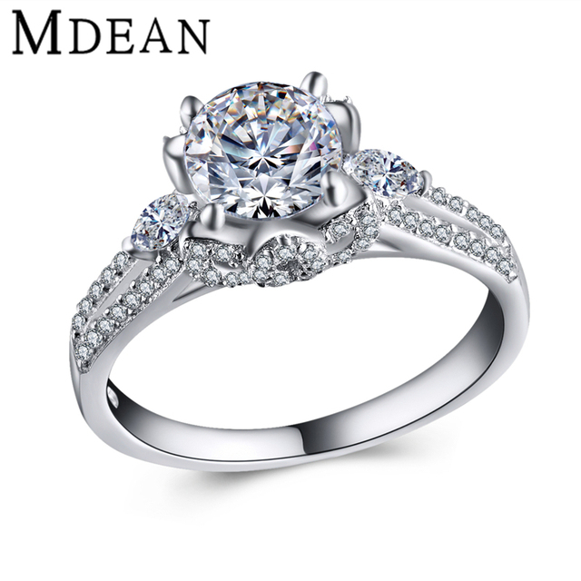 MDEAN 925 solid sterling silver jewelry wedding rings for women fashion Accessories bague bijoux ring women silver rings MSR432