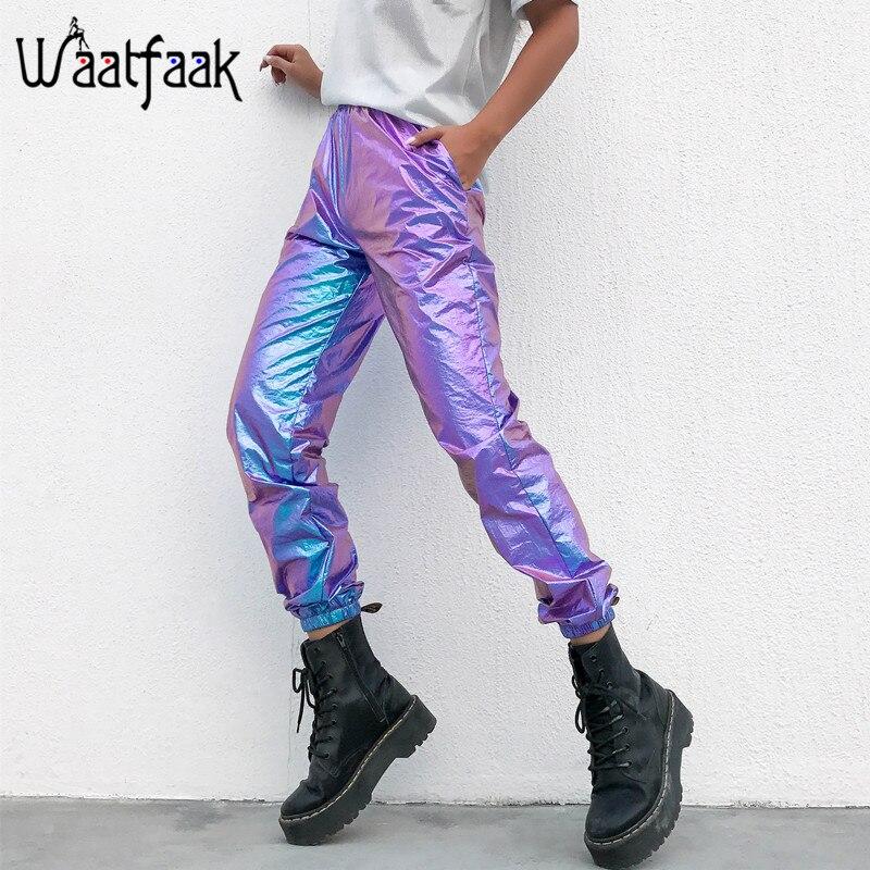 Waatfaak Laser Reflective Hip Hop Pants Women High Waist Harem Pants Streetwear Purple Ankle-Length Trousers Female Capri 2019