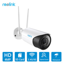 Reolink Camera WiFi 2.4G/5G HD 4MP Zoom SD Card Autofocus Security Nightvision Wi-Fi Bullet IP Camera RLC-411WS