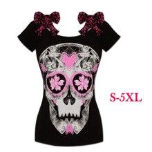 2017 New Female Skull T shirts Women 3D Digital Print Loose Boat Collar T Shirt Harajuku Girls Fashionable Cute Tops TNN#