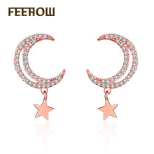 FEEHOW New Trendy Cubic Zirconia Star Month Simple Cute Stud Earrings for Women Wedding Dinner Party Gift Jewelry FWEP2280
