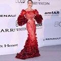 Sexy Laço Vermelho Longo Celebridade Vestidos Off The Shoudler Vestidos Runway Katy Perry Vestidos Carprt Vermelho vestidos das celebridades