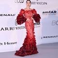 Sexy de Encaje Rojo Largo Vestidos de La Celebridad de La Shoudler Vestidos Runway vestidos das celebridades Katy Perry Red Carprt
