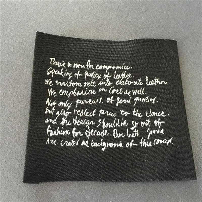 Custom Double Density Black Background Woven Label Clothing Name