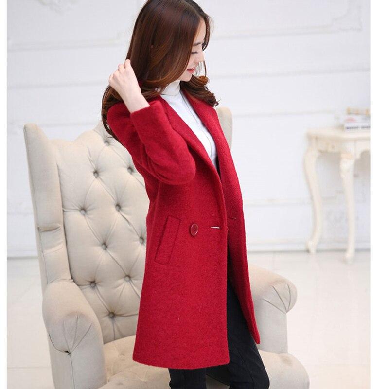 2018 Mode Longue En Rouge Yellow Jaune Pardessus Femmes Nouveau Manteau Chaud Automne red Veste Double D'hiver Boutonnage Laine Survêtement 6Aw64