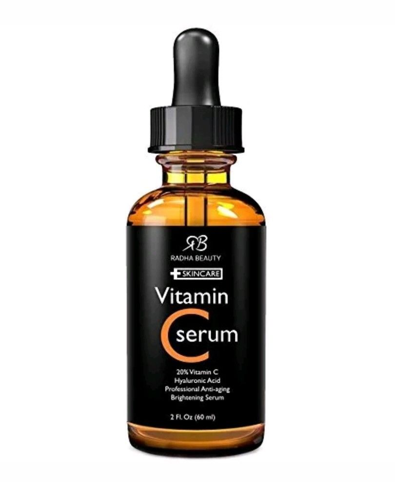 Radha Beauty Organic Vitamin C Serum for Face, 2 fl. oz - 20% Vit C + E skin correcting serum 1 19 fl oz from rivage