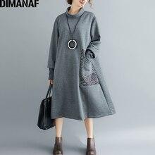 6b1abd223 DIMANAF Mulheres Elegantes Vestidos Longos do Inverno Engrossar Roupas de Algodão  Plus Size Gola Lady Vestidos