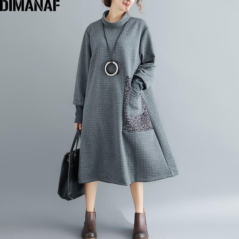 DIMANAF mujeres elegantes Vestidos largos invierno grueso ropa de algodón talla grande Vintage cuello alto señora Vestidos Mujer vestido suelto