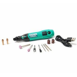 Image 2 - ProsKit PT 5205U 3.7V USB 충전 전기 그라인더 세트 리튬 이온 미니 드릴 스크루 드라이버 전기 드릴 조각사 연 삭