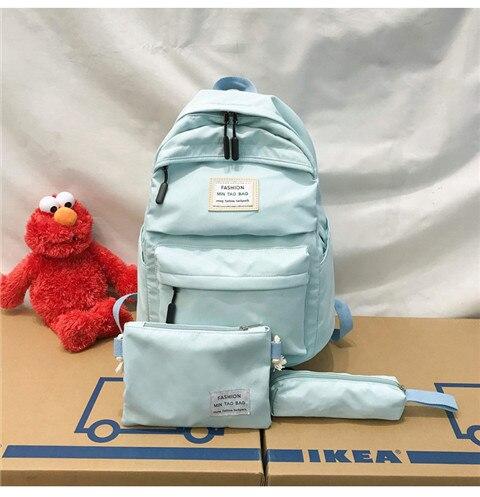 HTB1y0d2XF67gK0jSZPfq6yhhFXa1 Nylon Backpack Women Backpack Solid Color Travel Bag Large Shoulder Bag For Teenage Girl Student School Bag Bagpack Rucksack