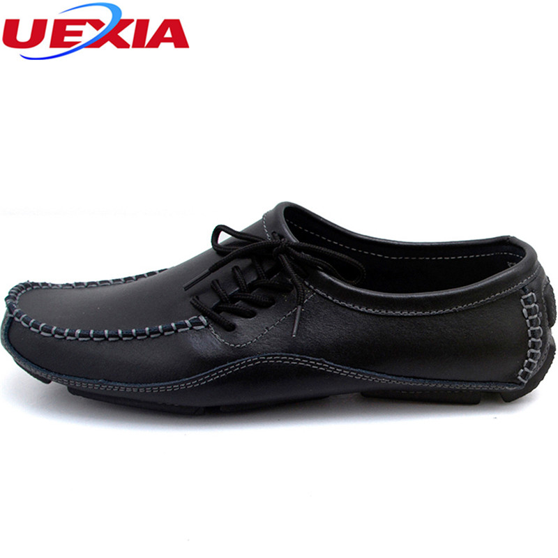 Handmade Plus Size Driving Shoes Mens Fashion Leather Casual Flats Men Shoes High Quality Breathable Lace-up Rubber Moccasins стоимость