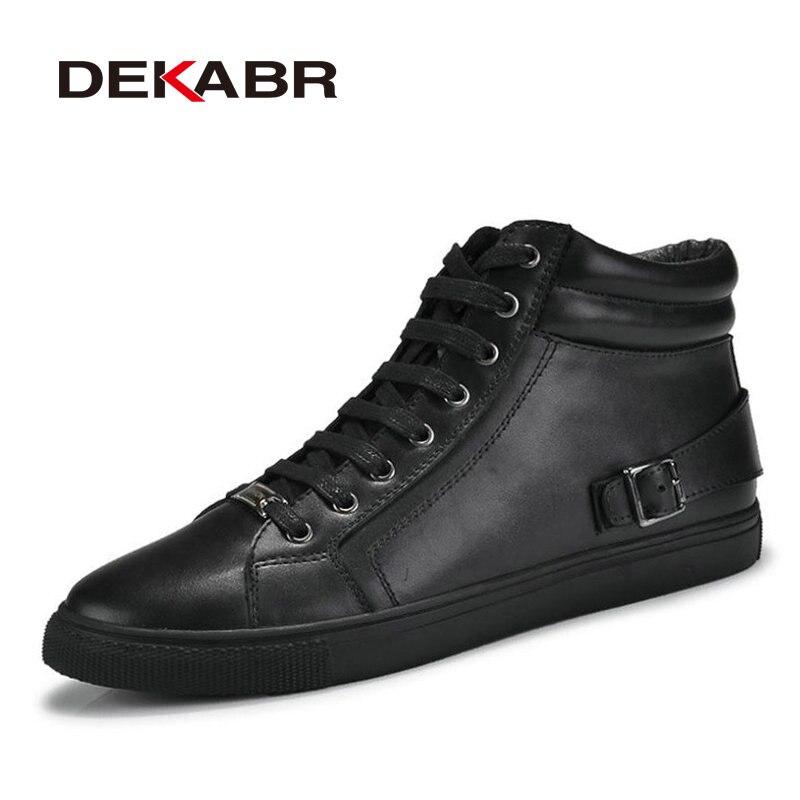 DEKABR/ручной работы ботинки из натуральной кожи Обувь на теплом меху плюс Размеры Мужская зимняя обувь, из натуральной нешлифованной кожи оче...