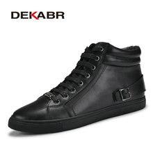 Dekabr/ручной работы ботинки из натуральной кожи Обувь на теплом меху плюс Размеры Мужская зимняя обувь, из натуральной нешлифованной кожи очень теплые Для мужчин зимняя обувь для России