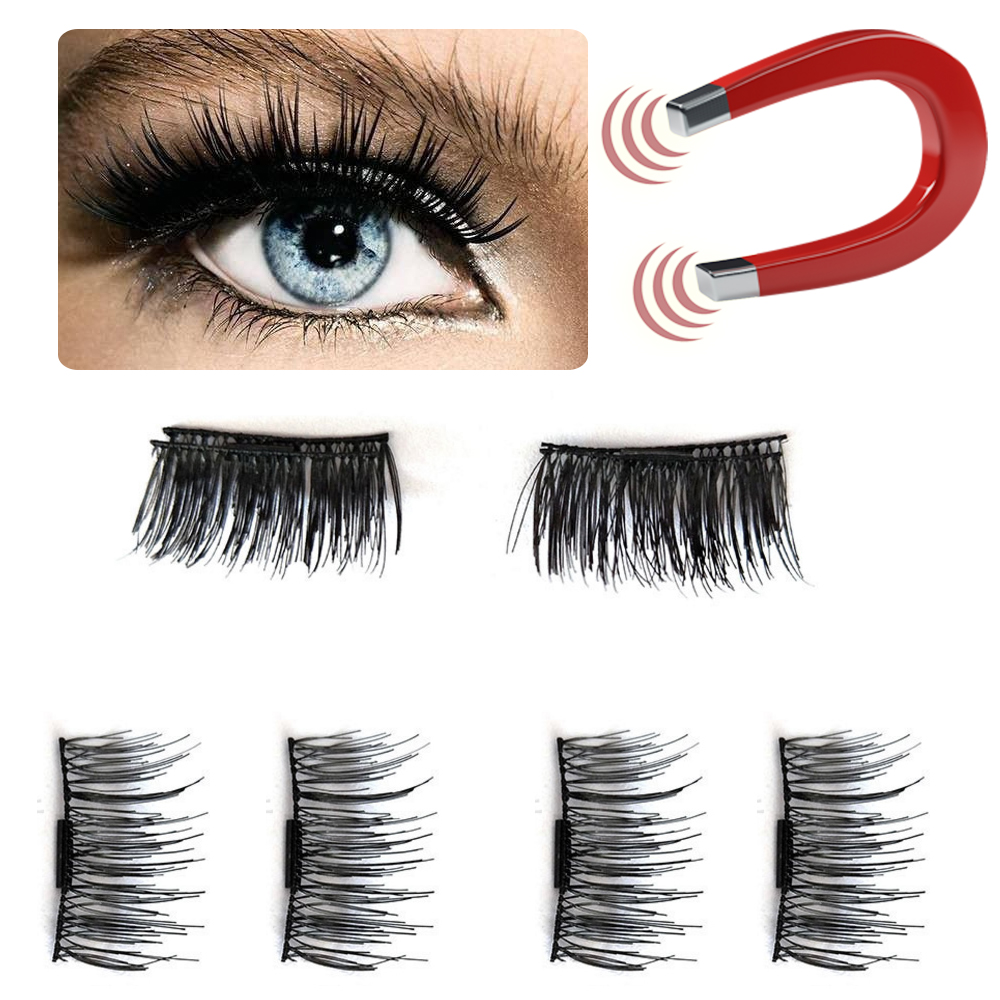 Clearance 4pcs/Pair Magnetic Eyelashes Cross Thick False Eyelashes Natural Fake Eyelash Extention Non-glue Magnet False Eyelash