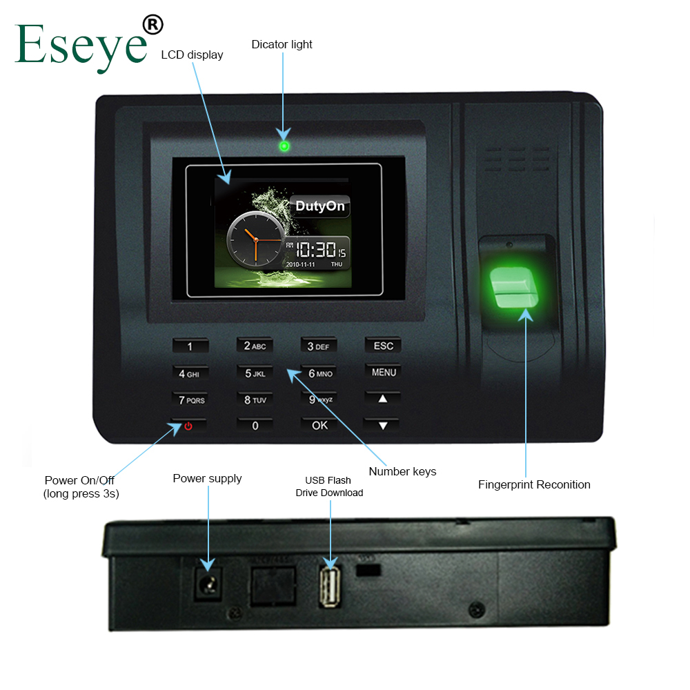 Eesye Biometric Fingerprint Time Attendance System Time Clock Time Recorder Office Employee Electronic Digital Reader Machine st300 fingerprint time attendance time recorder employee attendance system time clock in stock