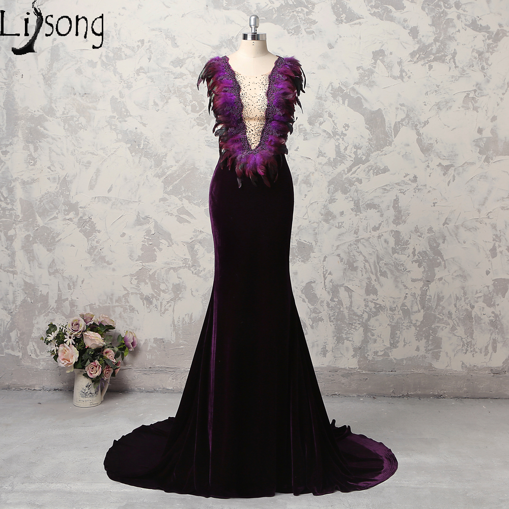 2018 Prom Dress Dark Purple Modest High End Feather Womens Formal ...
