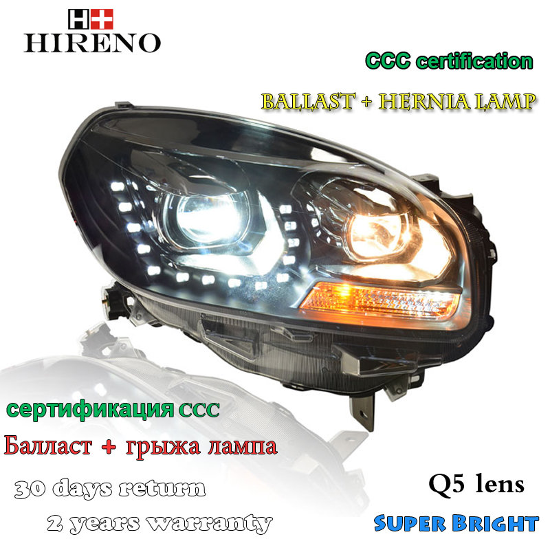 Hireno Headlamp for 2012-2016 Renault Koleos Headlight Assembly LED DRL Angel Lens Double Beam HID Xenon 2pcs