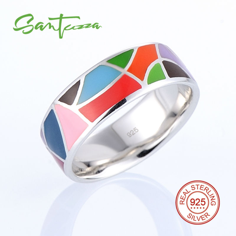 Silver Ring for Women Rainbow Enamel Ring Lord of the Ring Pure 925 Sterling Silver Female Ring Party Fashion Jewelry HANDMADE ...
