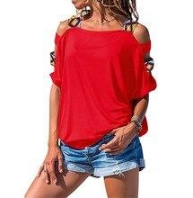 купить 2019 Fashion Women Hollow Out Summer T Shirt Half Sleeve Solid Casual Tees Slash Neck Streetwear Off-Shoulder Sexy Tops дешево