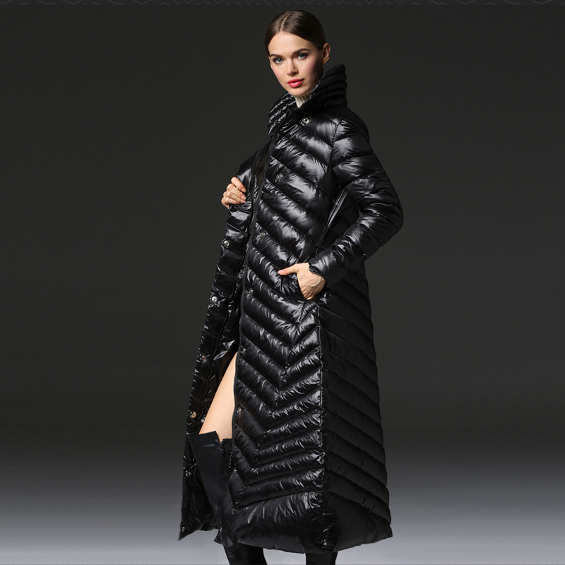 New Women Winter Fashion Down Coats Extra Long Thick Warm Black Zipper Down Jackets 90% White Duck Down Coat Snow Wear AO112 new arrival 2018 winter europe fashion women s duck down coat