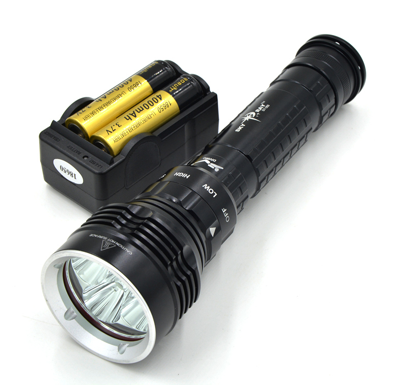 New 8000Lm Scuba Diving 5x CREE XM-L2 LED Flashlight Torch 26650/18650 Rechargeable Light With 2*18650 Battery + Charger 100m underwater flashlight diving led scuba flashlights light torch diver cree xm l2 use 18650 or 26650 rechargeable batteries