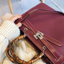 Fashion Bamboo Handle Handbags Large Capacity Casual Totes Women High Quality Shoulder Bags Famous Design Women Leather Handbags