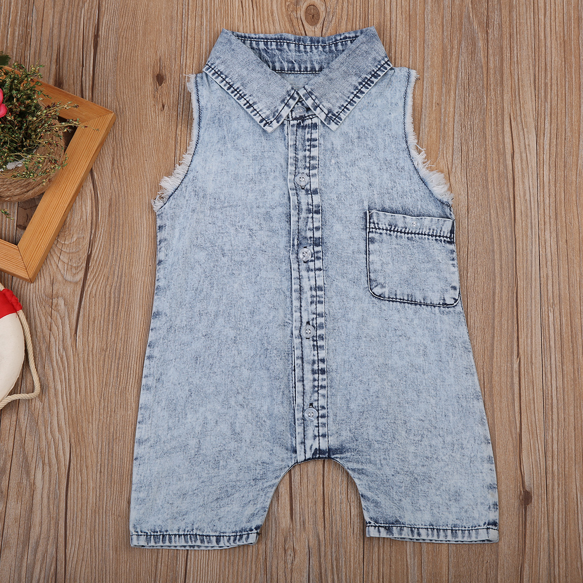 Demin Fashion Kids Boy Girl Infant Vest   Romper   Casual Baby Jumpsuit Clothes Outfit 0-2T