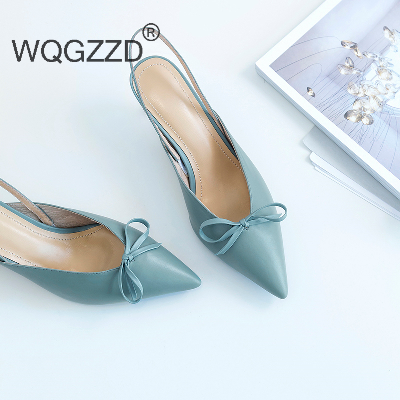 2019 New summer sandals women s shoe genuine leather brand butterfly knot decoration high heels shoes