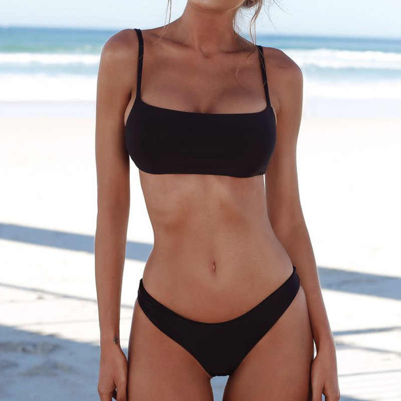 Bikini 2019 Bikinis Set  Solid Low Waist Push-up Chest Pad Bra Swimsuit Swimwear Triangle Bather  Swimming Suit Swimwear Women