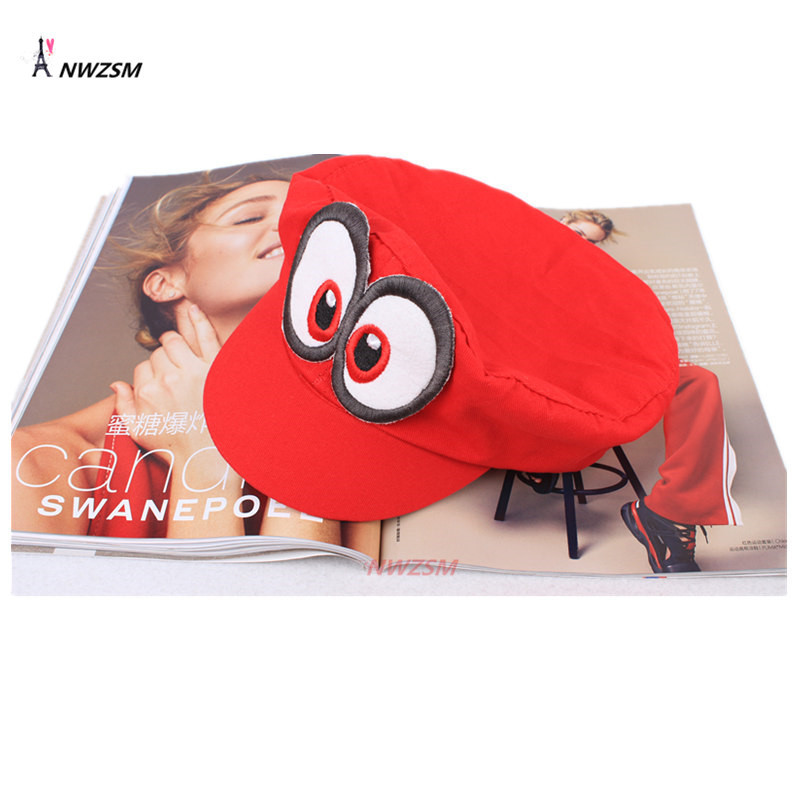 Wholesale 10 PCS Super Mario Hat Red Odyssey Mario Cap Wearable Baseball Caps Unisex Adjustable Cotton Costume Halloween Party