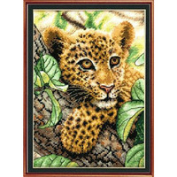 Printed Leopard Baby Needlework DIY Counted Full Cross Stitch Kit Embroidery Wall Painting Crafts Gift