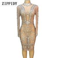 Блестящие Серебряные Кристаллы Сетчатое платье Для женщин Вечеринка платья день рождения, празднование наряд певицы шоу на сцене платье