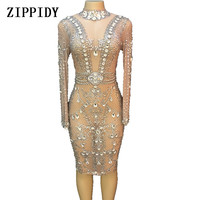 Sparkly Silver Crystals Mesh Dress Women's Evening Party Dresses Birthday Celebrate Costume Female Singer Stage Show Dress