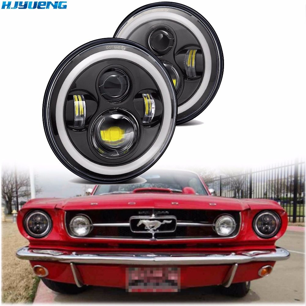"""7""""INCH LED Headlight Car Angel Eyes DRL Running Lights for Ford Mustang 1965 1978 Camaro 1967 1981 Kenworth T 2000 Harley-in Car Light Assembly from Automobiles & Motorcycles"""