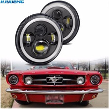 "7""INCH LED Headlight Car Angel Eyes DRL Running Lights for Ford Mustang 1965 1978 Camaro 1967 1981 Kenworth T 2000 Harley"
