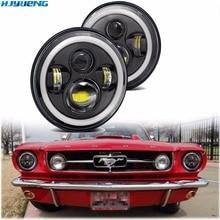 Faro LED de 7 pulgadas tipo Ojos de Ángel para coche DRL luces para Ford Mustang 1965 1978 Camaro 1967 1981 Kenworth T 2000 Harley