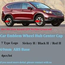 Автомобильные Чехлы На колеса 69 мм ABS для Honda CRV Civic Accord CITY Fit Pilot Crossroad 4 шт./лот, автомобильные эмблемы, колпачки на колеса, автомобильные Значки