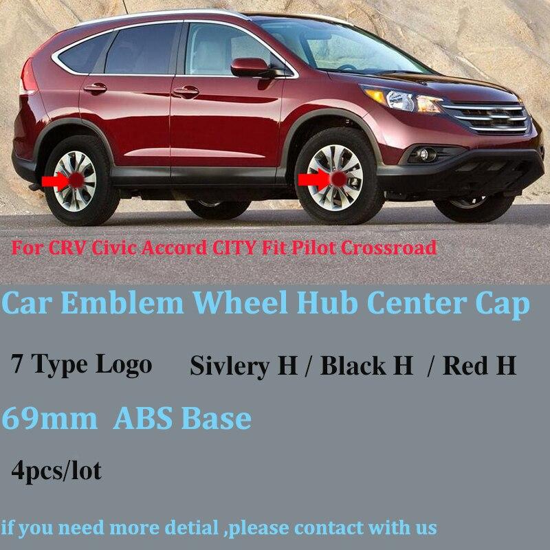 Car Wheel Covers 69mm ABS For Honda CRV Civic Accord CITY Fit Pilot Crossroad 4pcs/lot Car Emblem Wheel Center Caps Auto Badge
