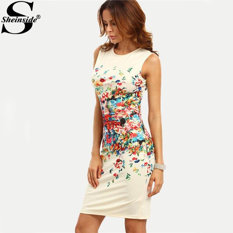 Sheinside Multicolor Print Bodycon Dress Sleeveless Sheath Mini Party Dress Women Office Ladies Workwear Elegant Midi Dress