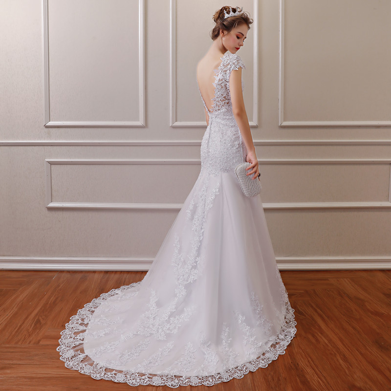 QQ Lover V-neck Cap Sleeve Mermaid Lace Wedding Dress Vestido De Noiva Bridal Wedding Gowns