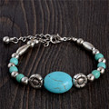 2253 Hot Charm Beads Fashion Jewelry Vintage Hollow Out Handmade Petals Tibetan Silver Turquoise Bracelet Free Shipping
