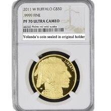 2011 вольфрамовые монеты с покрытием 1,5 г. 999 тонкое золото США Буффало монета градуированных PF70 1 унц.. с origianl держатель и чехол