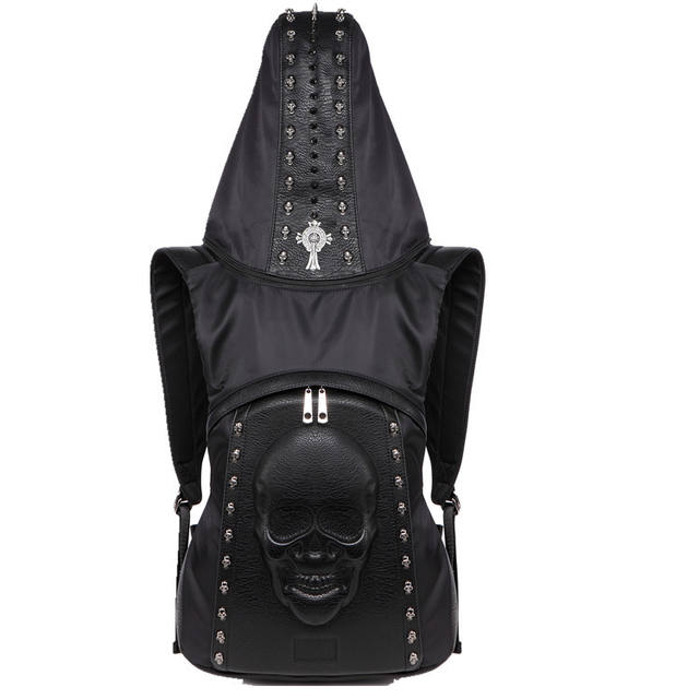3D SKULL BACKPACK WITH HOOD CAP