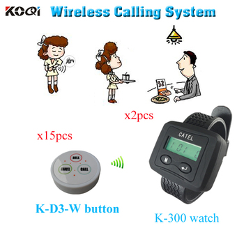 Wireless paging system for restaurant Hot sale Call Bell Transmitter Watch Buzzer ( 2 watch pager +15 table bell button)